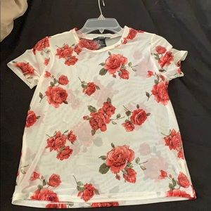 Forever 21 sheer coral shell top
